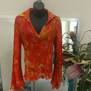 Cache Floral Blouse with Trumpet Sleeves